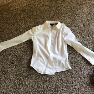 Professional white long-sleeved blouse